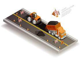 Road Works Constructiesamenstelling vector