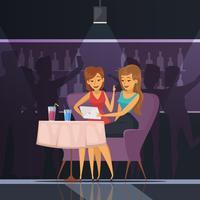 Selfie In Cafe Illustratie