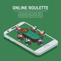 Online Roulette Isometrische Smartphone-poster vector