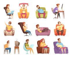 Sedentaire levensstijl Retro Cartoon Icons Set