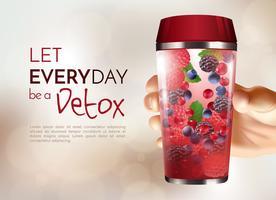 Hand met Detox fles Poster vector