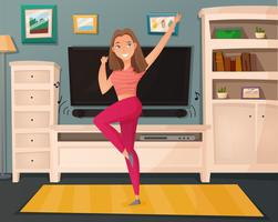 Girl Dance Home Cartoon Vector