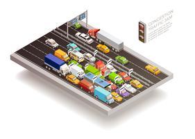 Verkeersopstopping Isometrische ontwerpconcept