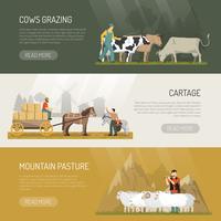boerderijdieren weiland banners vector
