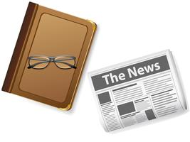 boek met een bril en een krant vector