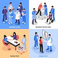 Ziekenhuis 4 isometrische pictogrammen Concept