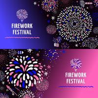 Feestelijke vuurwerk 2 banners Set vector