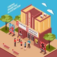 Cinema gebouw isometrische samenstelling vector