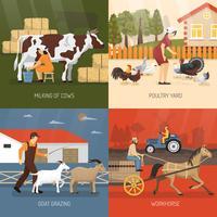 Landbouwhuisdieren ontwerpconcept
