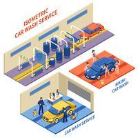 Car Wash Service Isometrische composities vector