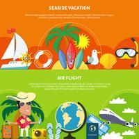 Vakantie platte banners instellen vector