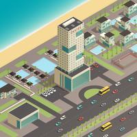 Isometrische stad constructeur met luxe hotel