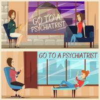 Bezoek aan psychiater Flat Banners vector