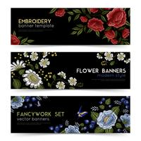 Floral Folk borduurwerk Banners Set vector