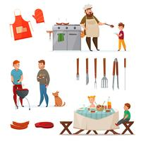 Barbecue partij Icon Set vector