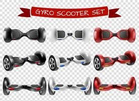 Gyro-scooter View Set transparante achtergrond vector