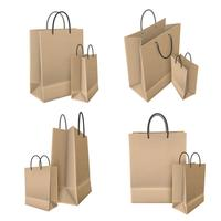 Boodschappentassen uit ambachtelijke papierset vector