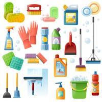 Schoonmaak benodigdheden Gereedschappen Plat pictogrammen instellen
