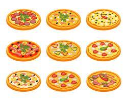 Pizza pictogrammen instellen vector