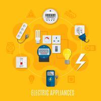 Elektrische apparaten rond ontwerp vector
