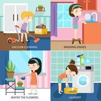 Kinderen die 2x2 ontwerpconcept schoonmaken