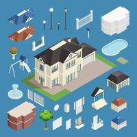 Voorstad huis isometrische instellen vector