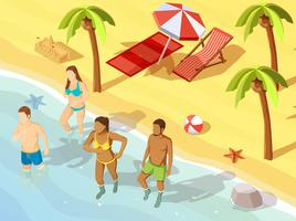 Vrienden Ocean Beach vakantie isometrische Poster vector