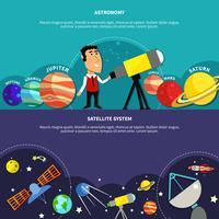 Astronomie Banners Set vector
