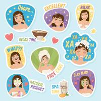 Vrouw ochtend Stickers Set vector