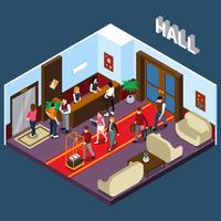 Hotel Hall isometrische illustratie vector