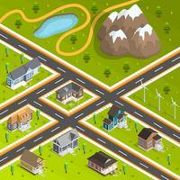 Land Town gebouwen samenstelling vector