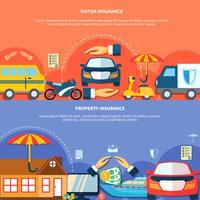 Auto en eigendomsbescherming horizontale banners vector