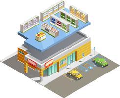 Supermarkt Winkel Gebouw Isometrisch Buitenaanzicht vector