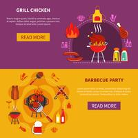 Grill Chiken op Barbecue Party Flat vector