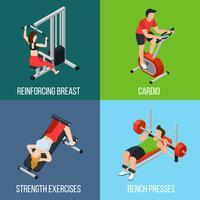 Gym mensen geïsoleerde pictogrammenset