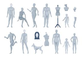 Window and Tailor Mannequins Icons Collection