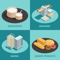 Vier bakkerij fabriek isometrische Icon Set