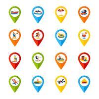 Verschillende locaties tekenen kleurrijke pictogrammen instellen vector