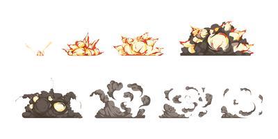 Explosie Animatie Icons Set vector