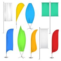 Advertentie vlaggen en banners Icon Set vector