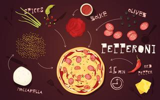 Pizza Pepperoni Recept vector