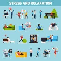 Stress en ontspanning collectie vector