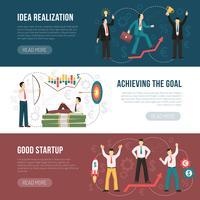 Succesvolle Startup Flat Horizontal Banners Set