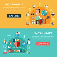Medische en reisverzekering horizontale banners vector