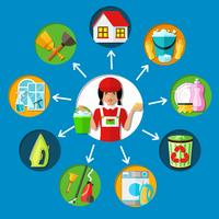 Dienstmeid Cleaning Service Concept vector