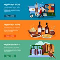Toeristische website van Argentina Flat Banners vector