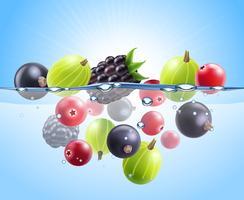 Realistische kleurrijke bessen achtergrond vector