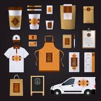 Koffie huisstijl ontwerpset