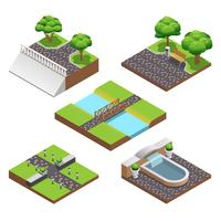 Landscaping isometrische composities vector