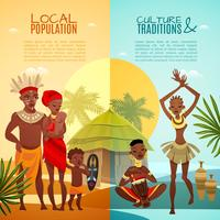 Afrikaanse tribale leven verticale platte banners